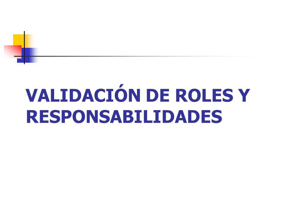 VALIDACIÓN DE ROLES Y RESPONSABILIDADES