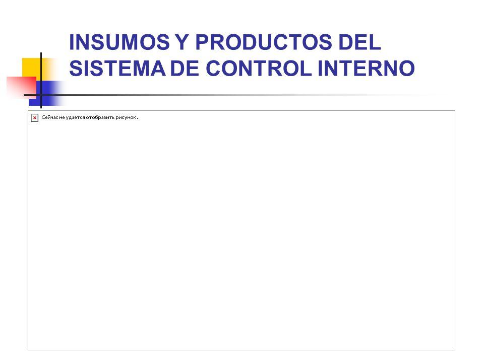 INSUMOS Y PRODUCTOS DEL SISTEMA DE CONTROL INTERNO
