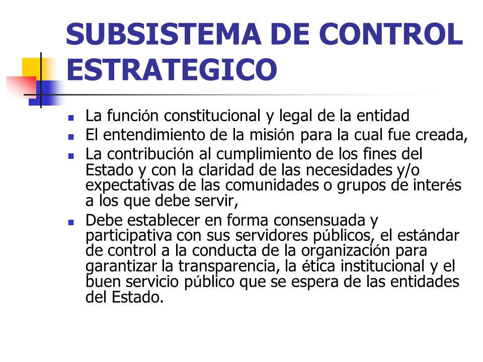 SUBSISTEMA DE CONTROL ESTRATEGICO La funci ó n constitucional y legal de la entidad El entendimiento de la misi ó n para la cual fue creada, La contri