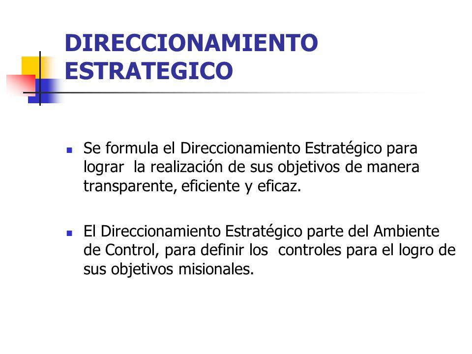 DIRECCIONAMIENTO ESTRATEGICO Se formula el Direccionamiento Estratégico para lograr la realización de sus objetivos de manera transparente, eficiente