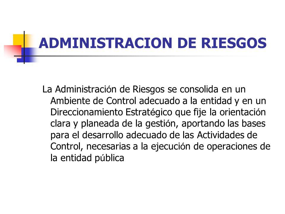 ADMINISTRACION DE RIESGOS La Administraci ó n de Riesgos se consolida en un Ambiente de Control adecuado a la entidad y en un Direccionamiento Estrat