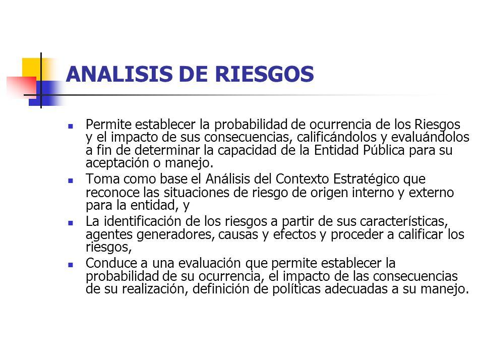 ANALISIS DE RIESGOS Permite establecer la probabilidad de ocurrencia de los Riesgos y el impacto de sus consecuencias, calific á ndolos y evalu á ndol