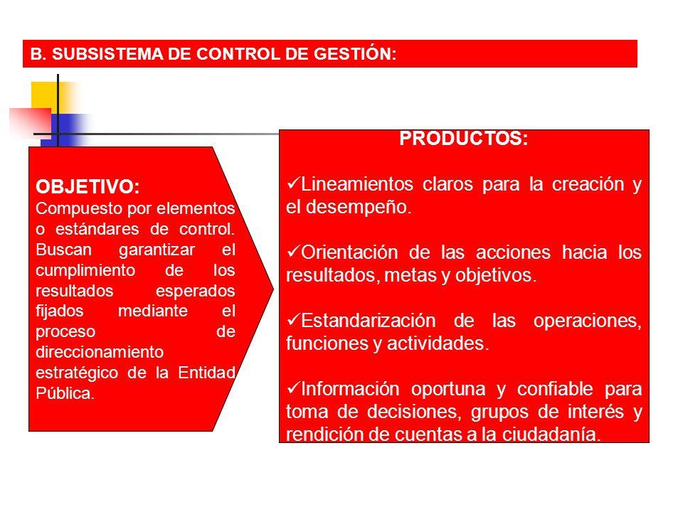 B. SUBSISTEMA DE CONTROL DE GESTIÓN: OBJETIVO: Compuesto por elementos o estándares de control. Buscan garantizar el cumplimiento de los resultados es