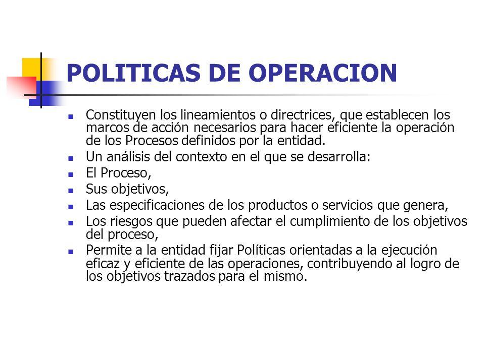 POLITICAS DE OPERACION Constituyen los lineamientos o directrices, que establecen los marcos de acci ó n necesarios para hacer eficiente la operaci ó
