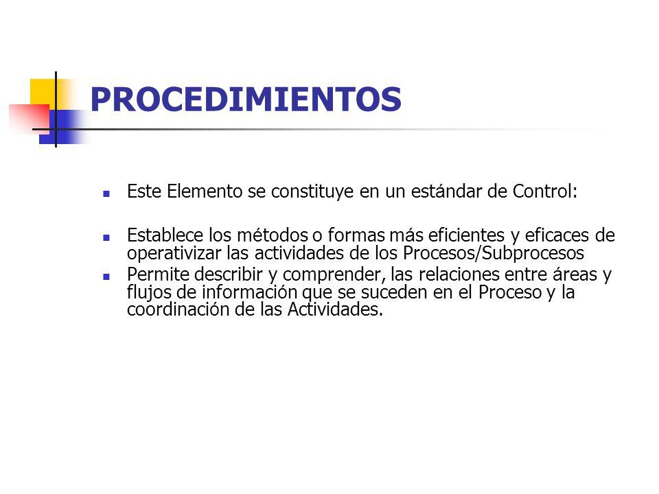 PROCEDIMIENTOS Este Elemento se constituye en un est á ndar de Control: Establece los m é todos o formas m á s eficientes y eficaces de operativizar l