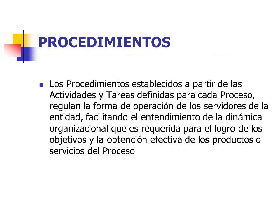 PROCEDIMIENTOS Los Procedimientos establecidos a partir de las Actividades y Tareas definidas para cada Proceso, regulan la forma de operaci ó n de lo