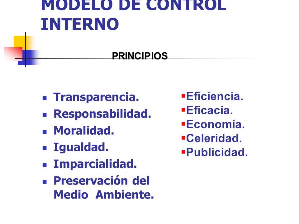 MODELO DE CONTROL INTERNO Transparencia. Responsabilidad. Moralidad. Igualdad. Imparcialidad. Preservación del Medio Ambiente. Eficiencia. Eficacia. E