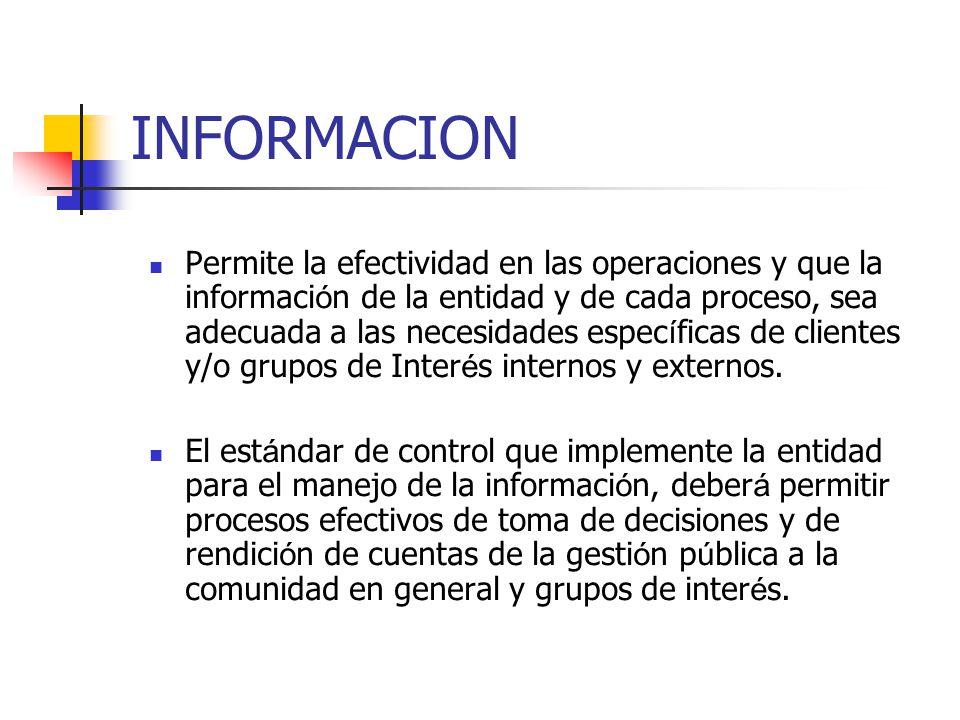 INFORMACION Permite la efectividad en las operaciones y que la informaci ó n de la entidad y de cada proceso, sea adecuada a las necesidades espec í f