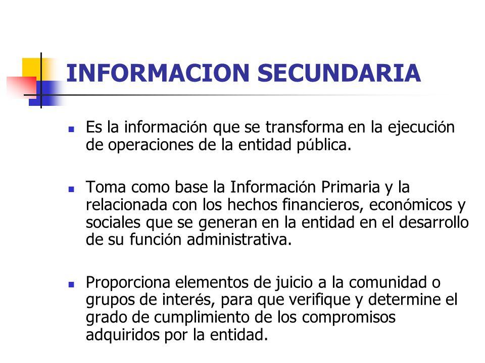 INFORMACION SECUNDARIA Es la informaci ó n que se transforma en la ejecuci ó n de operaciones de la entidad p ú blica. Toma como base la Informaci ó n