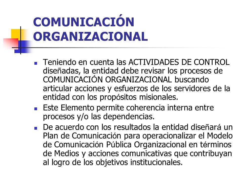 COMUNICACIÓN ORGANIZACIONAL Teniendo en cuenta las ACTIVIDADES DE CONTROL dise ñ adas, la entidad debe revisar los procesos de COMUNICACI Ó N ORGANIZA