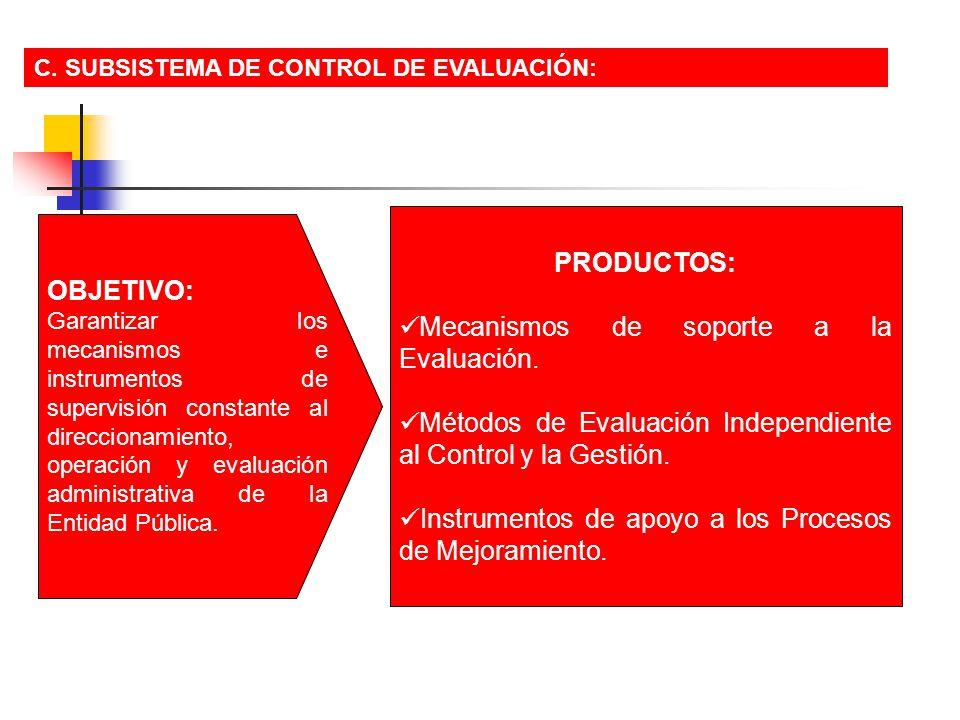 C. SUBSISTEMA DE CONTROL DE EVALUACIÓN: OBJETIVO: Garantizar los mecanismos e instrumentos de supervisión constante al direccionamiento, operación y e
