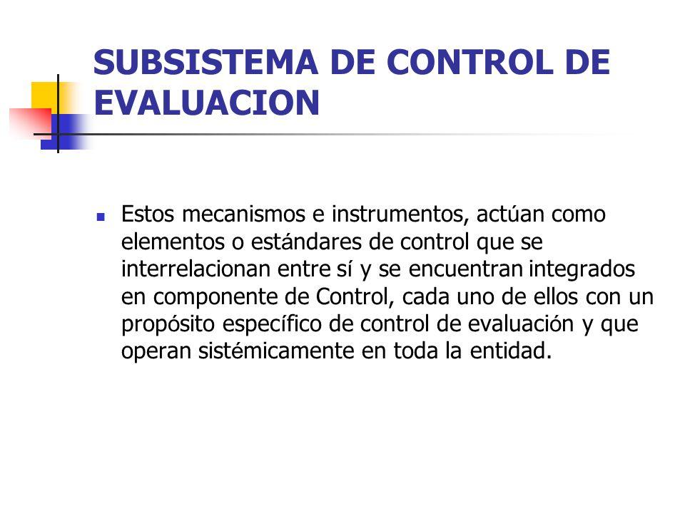 SUBSISTEMA DE CONTROL DE EVALUACION Estos mecanismos e instrumentos, act ú an como elementos o est á ndares de control que se interrelacionan entre s