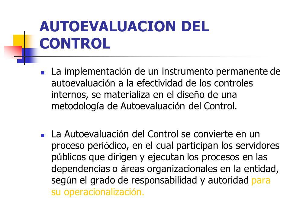 AUTOEVALUACION DEL CONTROL La implementaci ó n de un instrumento permanente de autoevaluaci ó n a la efectividad de los controles internos, se materia