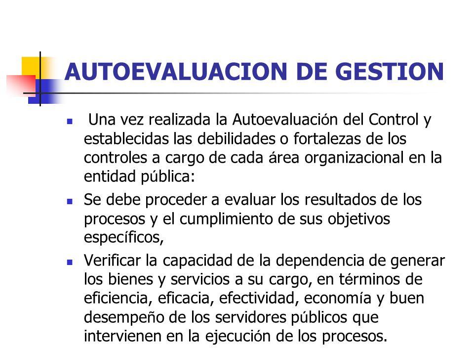 AUTOEVALUACION DE GESTION Una vez realizada la Autoevaluaci ó n del Control y establecidas las debilidades o fortalezas de los controles a cargo de ca