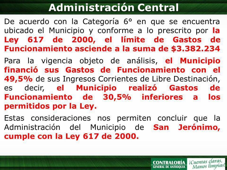 Administración Central De acuerdo con la Categoría 6° en que se encuentra ubicado el Municipio y conforme a lo prescrito por la Ley 617 de 2000, el lí