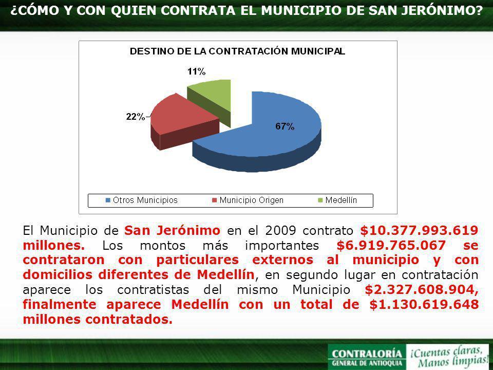 ¿CÓMO Y CON QUIEN CONTRATA EL MUNICIPIO DE SAN JERÓNIMO? El Municipio de San Jerónimo en el 2009 contrato $10.377.993.619 millones. Los montos más imp