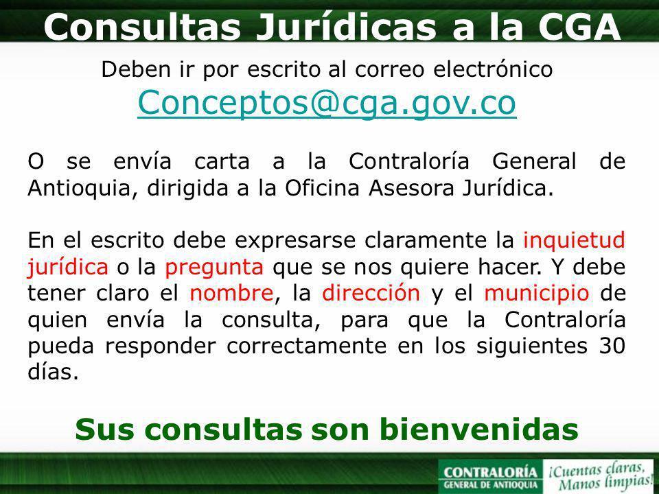 Deben ir por escrito al correo electrónico Conceptos@cga.gov.co Conceptos@cga.gov.co O se envía carta a la Contraloría General de Antioquia, dirigida a la Oficina Asesora Jurídica.