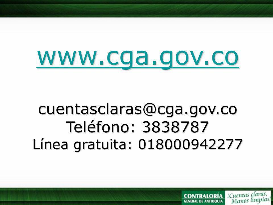 www.cga.gov.co cuentasclaras@cga.gov.co Teléfono: 3838787 Línea gratuita: 018000942277