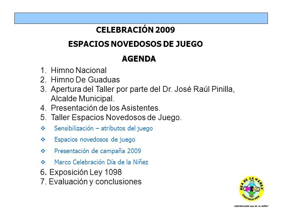 AGENDA CELEBRACIÓN 2009 ESPACIOS NOVEDOSOS DE JUEGO 1.Himno Nacional 2.Himno De Guaduas 3.Apertura del Taller por parte del Dr. José Raúl Pinilla, Alc