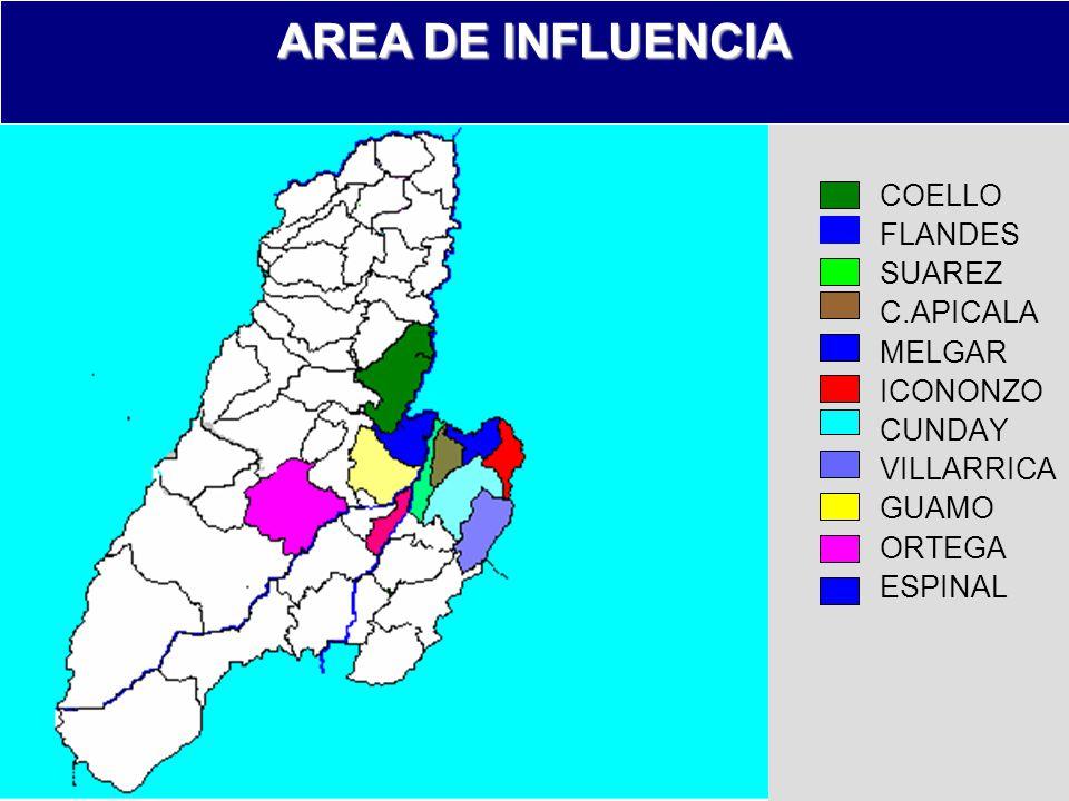 AREA DE INFLUENCIA COELLO FLANDES SUAREZ C.APICALA MELGAR ICONONZO CUNDAY VILLARRICA GUAMO ORTEGA ESPINAL