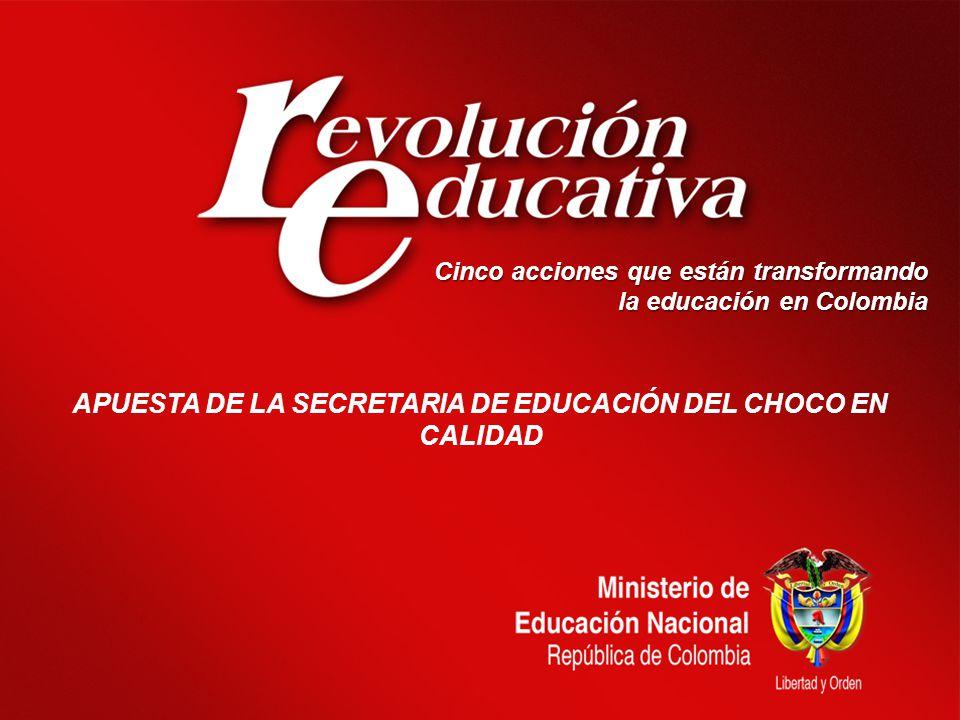 Cinco acciones que están transformando la educación en Colombia APUESTA DE LA SECRETARIA DE EDUCACIÓN DEL CHOCO EN CALIDAD