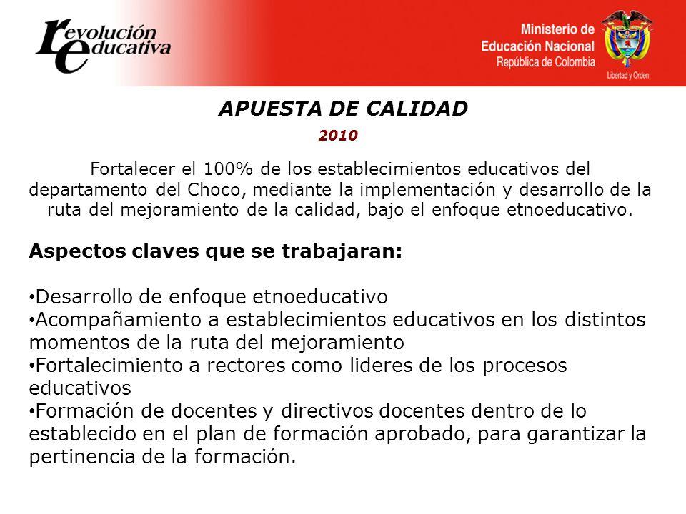 APUESTA DE CALIDAD 2010 Fortalecer el 100% de los establecimientos educativos del departamento del Choco, mediante la implementación y desarrollo de l