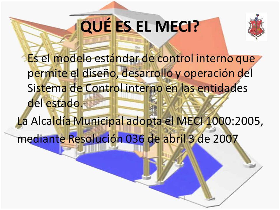 QUÉ ES EL MECI? Es el modelo estándar de control interno que permite el diseño, desarrollo y operación del Sistema de Control interno en las entidades