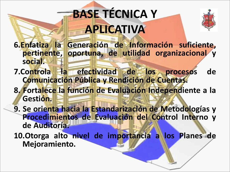 BASE TÉCNICA Y APLICATIVA 6.Enfatiza la Generación de Información suficiente, pertinente, oportuna, de utilidad organizacional y social. 7.Controla la