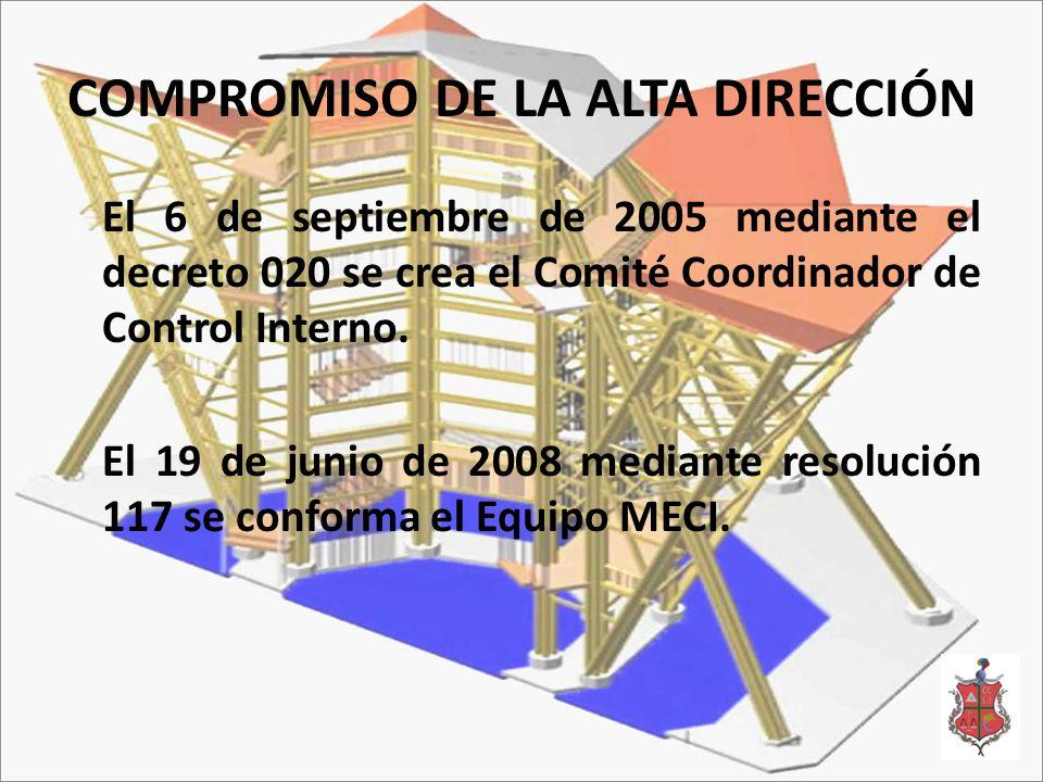 COMPROMISO DE LA ALTA DIRECCIÓN El 6 de septiembre de 2005 mediante el decreto 020 se crea el Comité Coordinador de Control Interno.