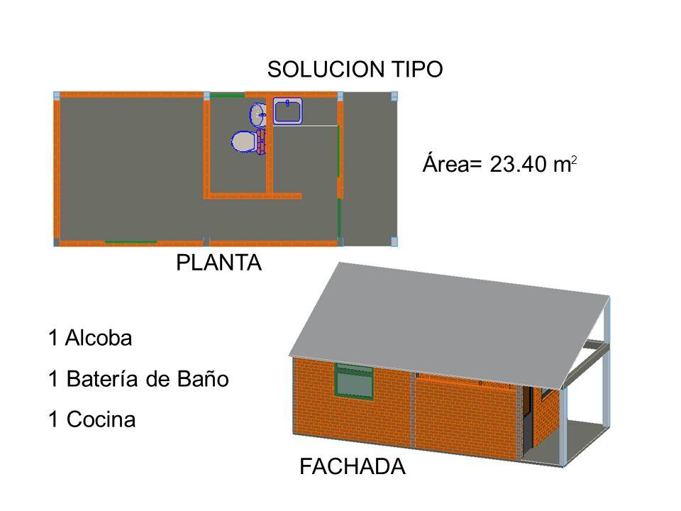SOLUCION TIPO PLANTA FACHADA Área= 23.40 m 2 1 Alcoba 1 Batería de Baño 1 Cocina