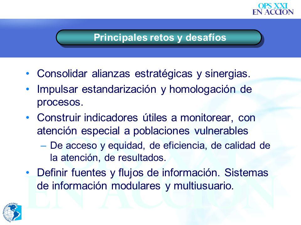 Consolidar alianzas estratégicas y sinergias.Impulsar estandarización y homologación de procesos.