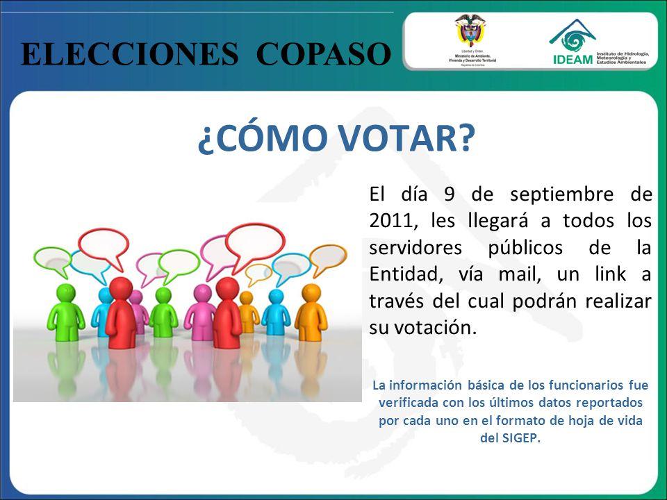 ELECCIONES COPASO ¿CÓMO VOTAR? El día 9 de septiembre de 2011, les llegará a todos los servidores públicos de la Entidad, vía mail, un link a través d