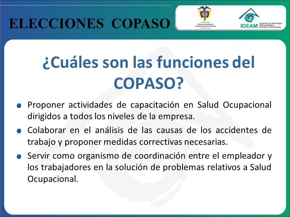 ELECCIONES COPASO ¿Cuáles son las funciones del COPASO? Proponer actividades de capacitación en Salud Ocupacional dirigidos a todos los niveles de la