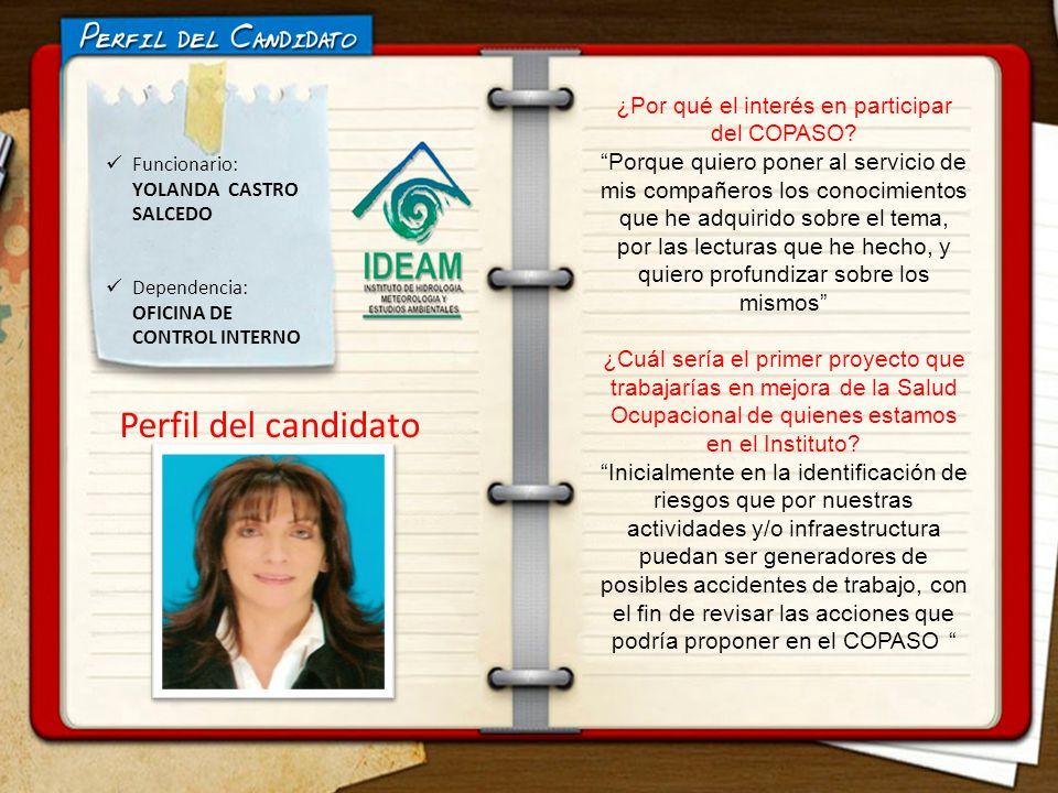 ELECCIONES COPASO Funcionario: YOLANDA CASTRO SALCEDO Perfil del candidato Dependencia: OFICINA DE CONTROL INTERNO ¿Por qué el interés en participar del COPASO.