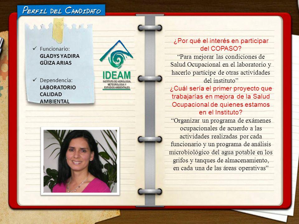 ELECCIONES COPASO Funcionario: GLADYS YADIRA GÜIZA ARIAS Dependencia: LABORATORIO CALIDAD AMBIENTAL ¿Por qué el interés en participar del COPASO? Para