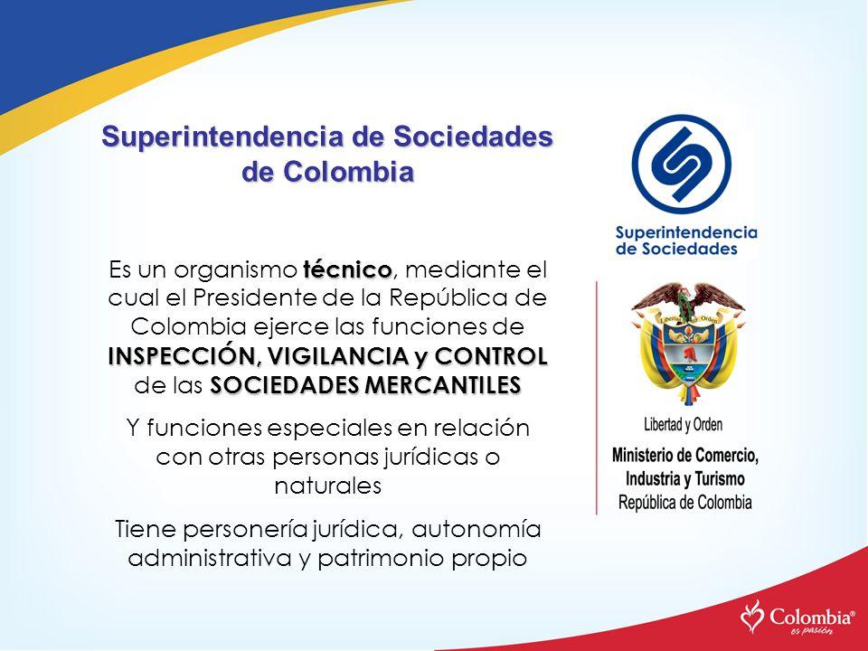 Superintendencia de Sociedades de Colombia técnico INSPECCIÓN, VIGILANCIA y CONTROL SOCIEDADES MERCANTILES Es un organismo técnico, mediante el cual e