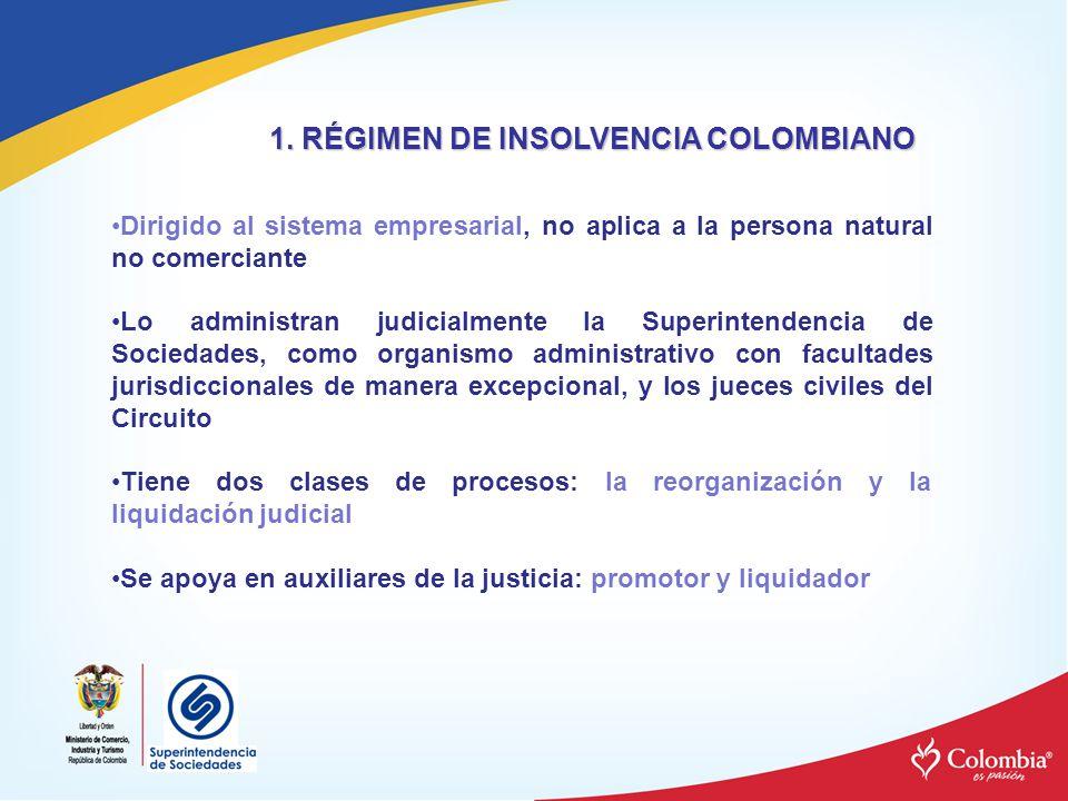 1. RÉGIMEN DE INSOLVENCIA COLOMBIANO Dirigido al sistema empresarial, no aplica a la persona natural no comerciante Lo administran judicialmente la Su