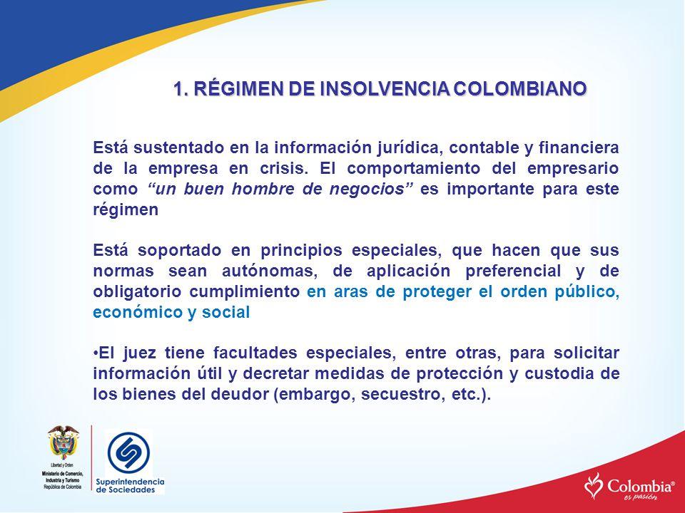 1. RÉGIMEN DE INSOLVENCIA COLOMBIANO Está sustentado en la información jurídica, contable y financiera de la empresa en crisis. El comportamiento del