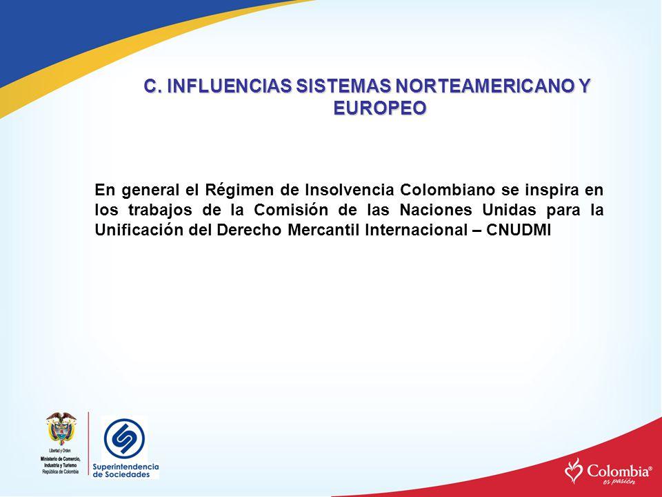 C. INFLUENCIAS SISTEMAS NORTEAMERICANO Y EUROPEO En general el Régimen de Insolvencia Colombiano se inspira en los trabajos de la Comisión de las Naci