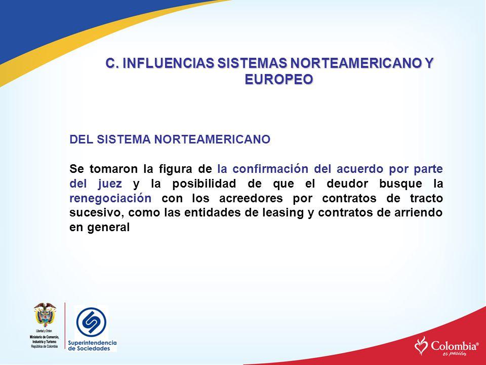 C. INFLUENCIAS SISTEMAS NORTEAMERICANO Y EUROPEO DEL SISTEMA NORTEAMERICANO Se tomaron la figura de la confirmación del acuerdo por parte del juez y l