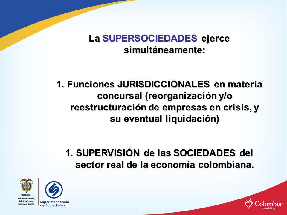 La SUPERSOCIEDADES ejerce simultáneamente: 1.Funciones JURISDICCIONALES en materia concursal (reorganización y/o reestructuración de empresas en crisi