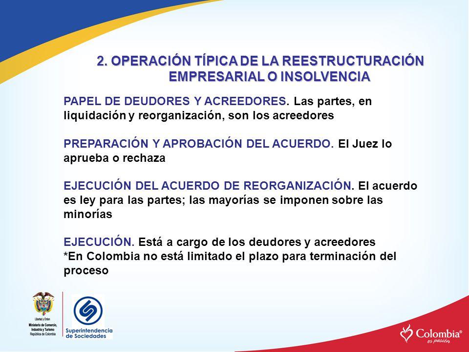 2. OPERACIÓN TÍPICA DE LA REESTRUCTURACIÓN EMPRESARIAL O INSOLVENCIA PAPEL DE DEUDORES Y ACREEDORES. Las partes, en liquidación y reorganización, son