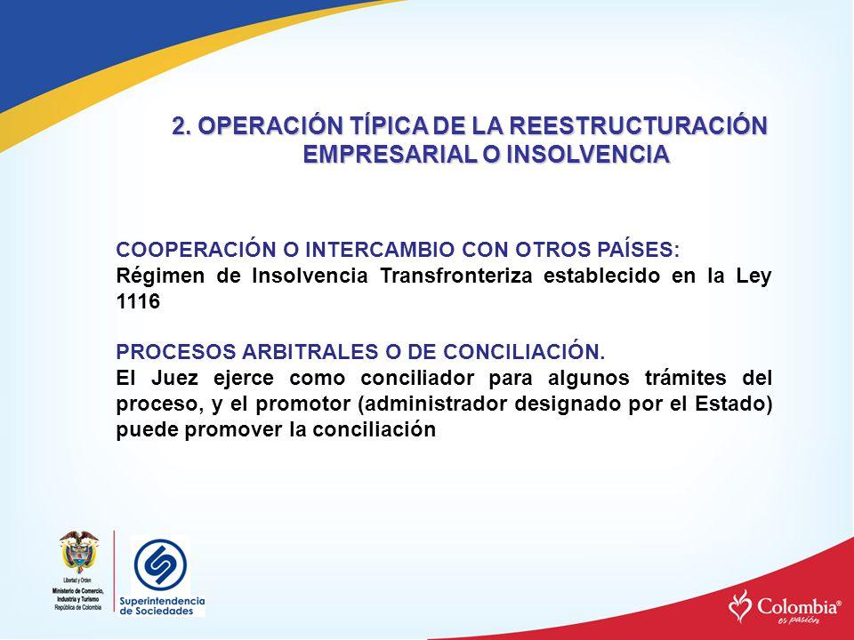 COOPERACIÓN O INTERCAMBIO CON OTROS PAÍSES: Régimen de Insolvencia Transfronteriza establecido en la Ley 1116 PROCESOS ARBITRALES O DE CONCILIACIÓN. E