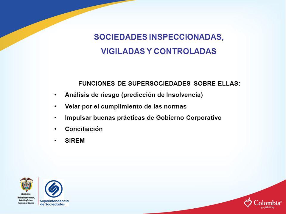 SOCIEDADES INSPECCIONADAS, VIGILADAS Y CONTROLADAS FUNCIONES DE SUPERSOCIEDADES SOBRE ELLAS: Análisis de riesgo (predicción de Insolvencia) Velar por