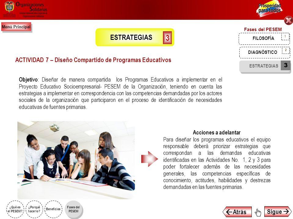 Objetivo : Diseñar de manera compartida las Estrategias Educativas a implementar en el Proyecto Educativo Socioempresarial- PESEM, de la Organización.