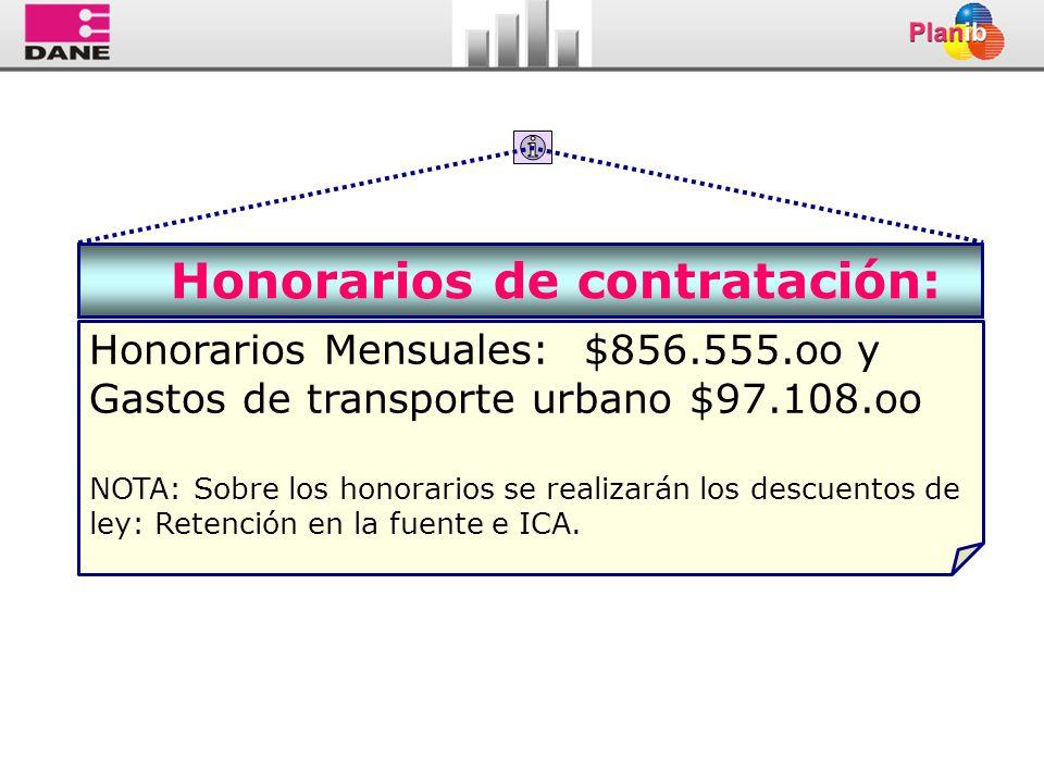 Honorarios de contratación: Honorarios Mensuales: $856.555.oo y Gastos de transporte urbano $97.108.oo NOTA:Sobre los honorarios se realizarán los des