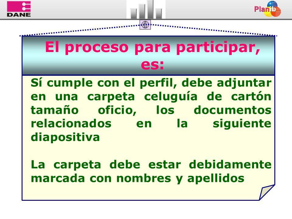 El proceso para participar, es: Sí cumple con el perfil, debe adjuntar en una carpeta celuguía de cartón tamaño oficio, los documentos relacionados en