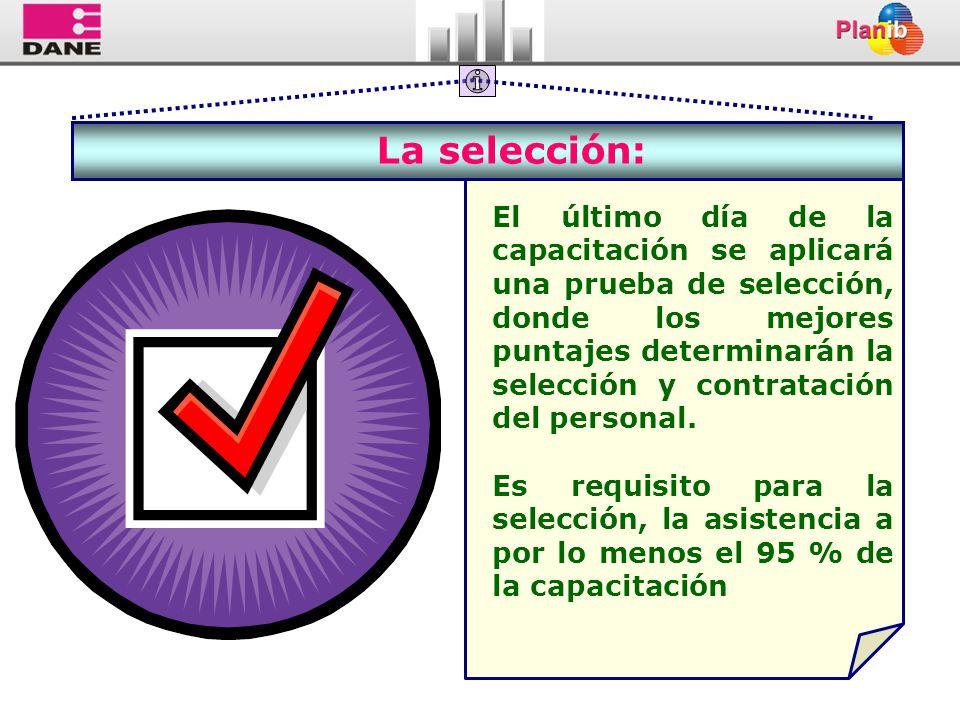 La selección: El último día de la capacitación se aplicará una prueba de selección, donde los mejores puntajes determinarán la selección y contratació