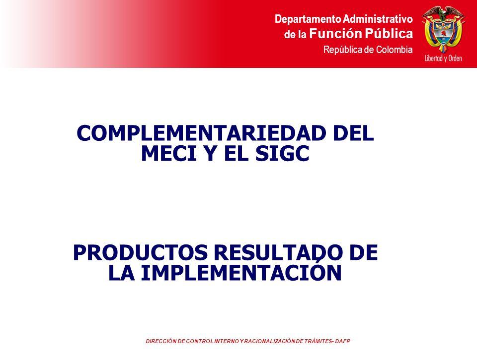 DIRECCIÓN DE CONTROL INTERNO Y RACIONALIZACIÓN DE TRÁMITES- DAFP Departamento Administrativo de la Función Pública República de Colombia CONTROL INTERNOSISTEMA DE GESTION DE CALIDAD CELERIDAD Enfoque basado en los procesos Mejora continua IMPARCIALIDAD Participación activa de los servidores públicos PUBLICIDAD Relaciones mutuamente beneficiosas con los proveedores Coordinación, cooperación y articulación RESPONSABILIDAD Enfoque hacia el cliente Enfoque del sistema para la gestión.