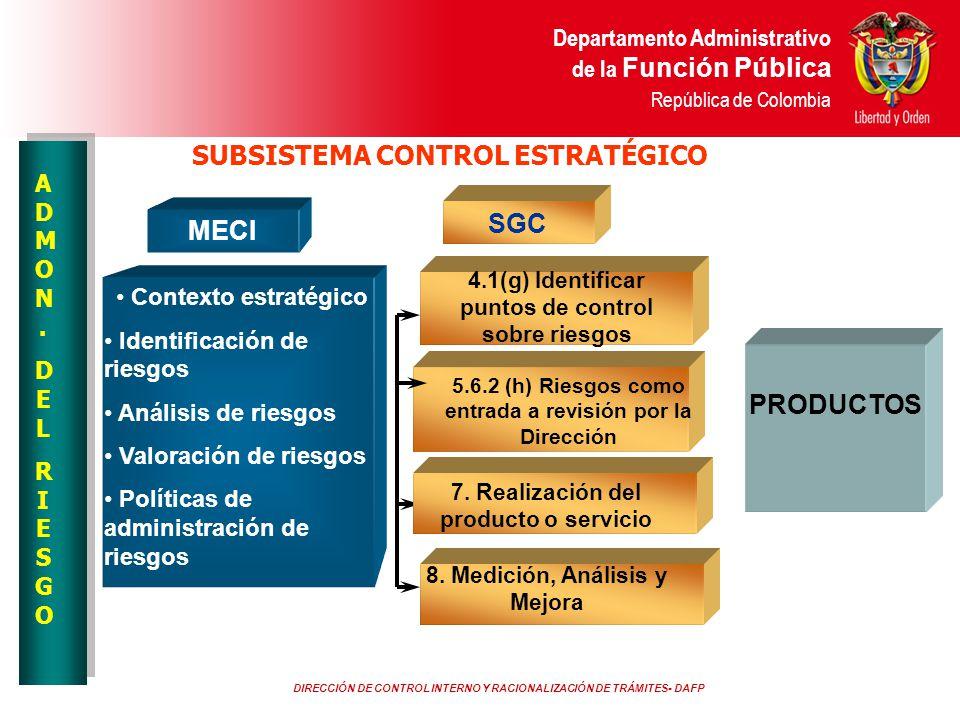 DIRECCIÓN DE CONTROL INTERNO Y RACIONALIZACIÓN DE TRÁMITES- DAFP Departamento Administrativo de la Función Pública República de Colombia MECI SGC Cont